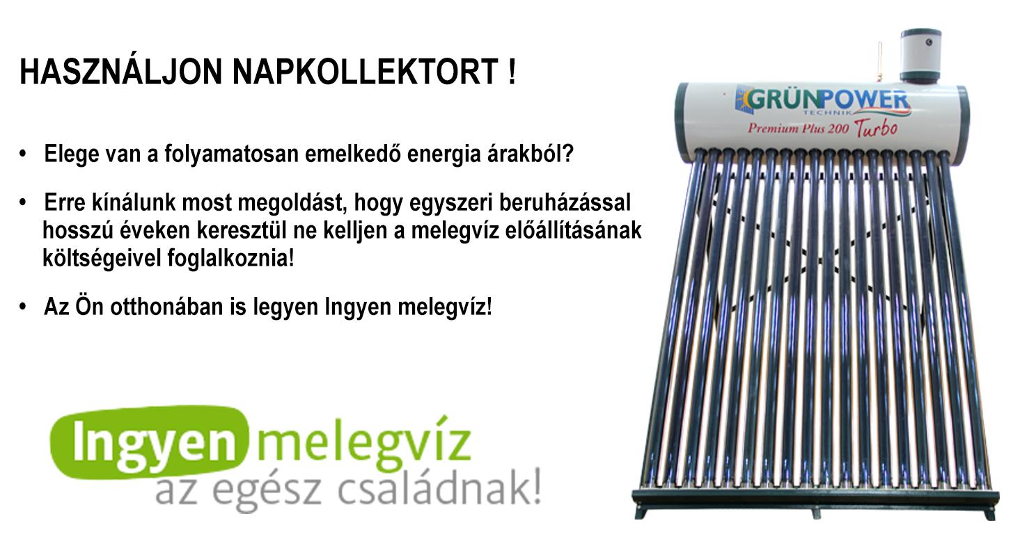 Grünpower napkollektor előnyei